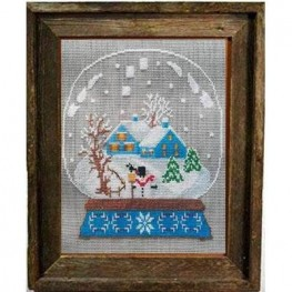 Snow Globe Blue House Twin Peak Primitives