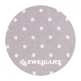 Murano 32 ct Zweigart Gray/white dots (серый в белый горошек) 3984/7349