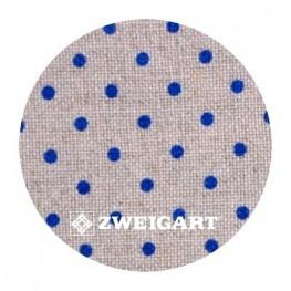 Belfast 32 ct Zweigart Raw linen/blue dots в синій горошок 3609/53009