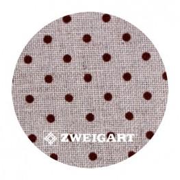 Belfast 32 ct Zweigart Raw linen/brown dots в коричневий горошок 3609/5392