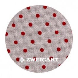 Belfast 32 ct Zweigart Raw Linen/red dots (цвет сырого льна в бордовый горошек) 3609/5391