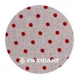 Belfast 32 ct Zweigart Raw Linen/red dots в бордовий горошок 3609/5391