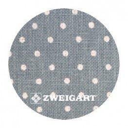 Belfast 32 ct Zweigart Antique Blue linen/white dots в белый горошек 3609/5269