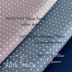 Belfast 32 ct Zweigart Antique Blue linen/white dots (античный синий в белый горошек) 3609/5269