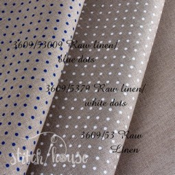 Belfast 32 ct Zweigart Raw linen/white dots в білий горошок 3609/5379