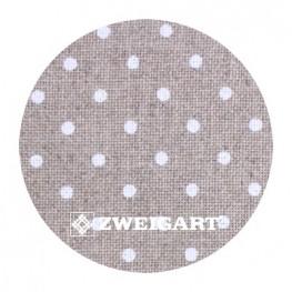 Edinburgh 36 ct Zweigart Raw linen/white dots в білий горошок 3217/5379
