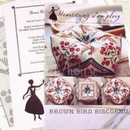 Схема Brown Bird Biscornu Heartstring Samplery