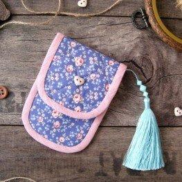 Чехольчик для ножниц (голубой в цветочек)