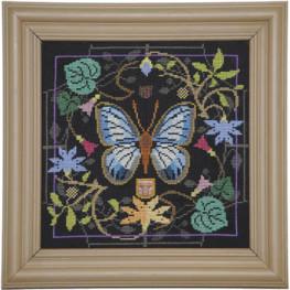 Схема Butterfly In Bloom - Green Banded Blue Tellin Emblem