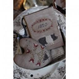 Prized Pig Sewing Book & Flower Urn Pinkeep Stacy Nash Primitive